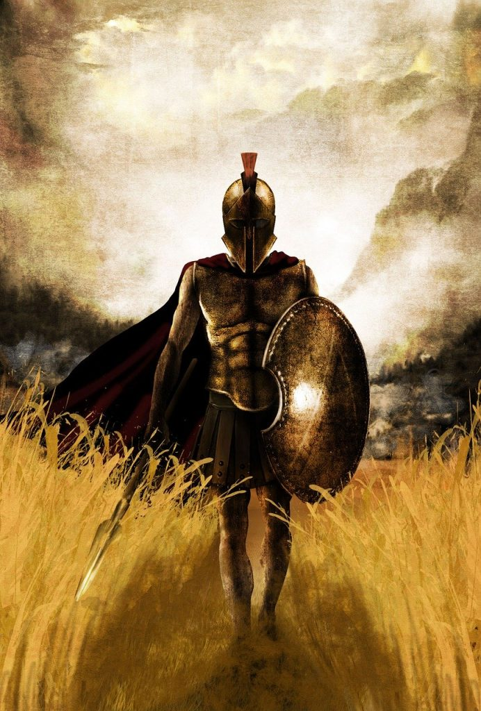 Spartan Warrior Walking through fields