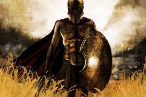 Spartan Warrior Walking through fields